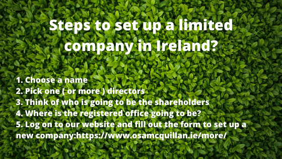 Steps to set up a limited company in Ireland
